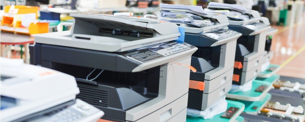 several assembled copiers on factory picture id170230781