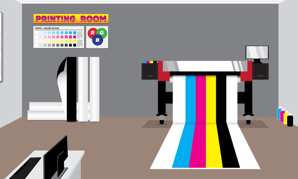 wide format printer in gray room with stuff vector id1172843032